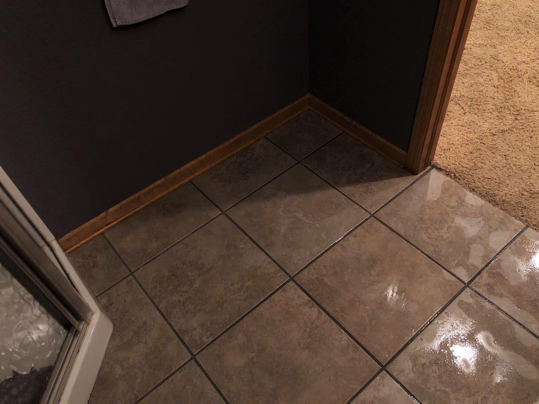 Wet Tile in the Bathroom