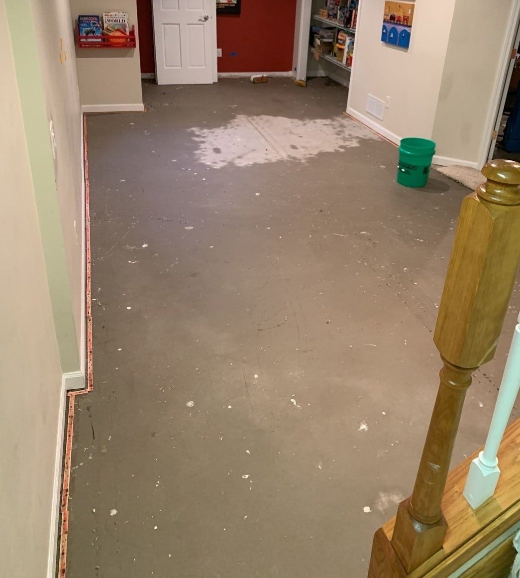 Main room after carpet removed