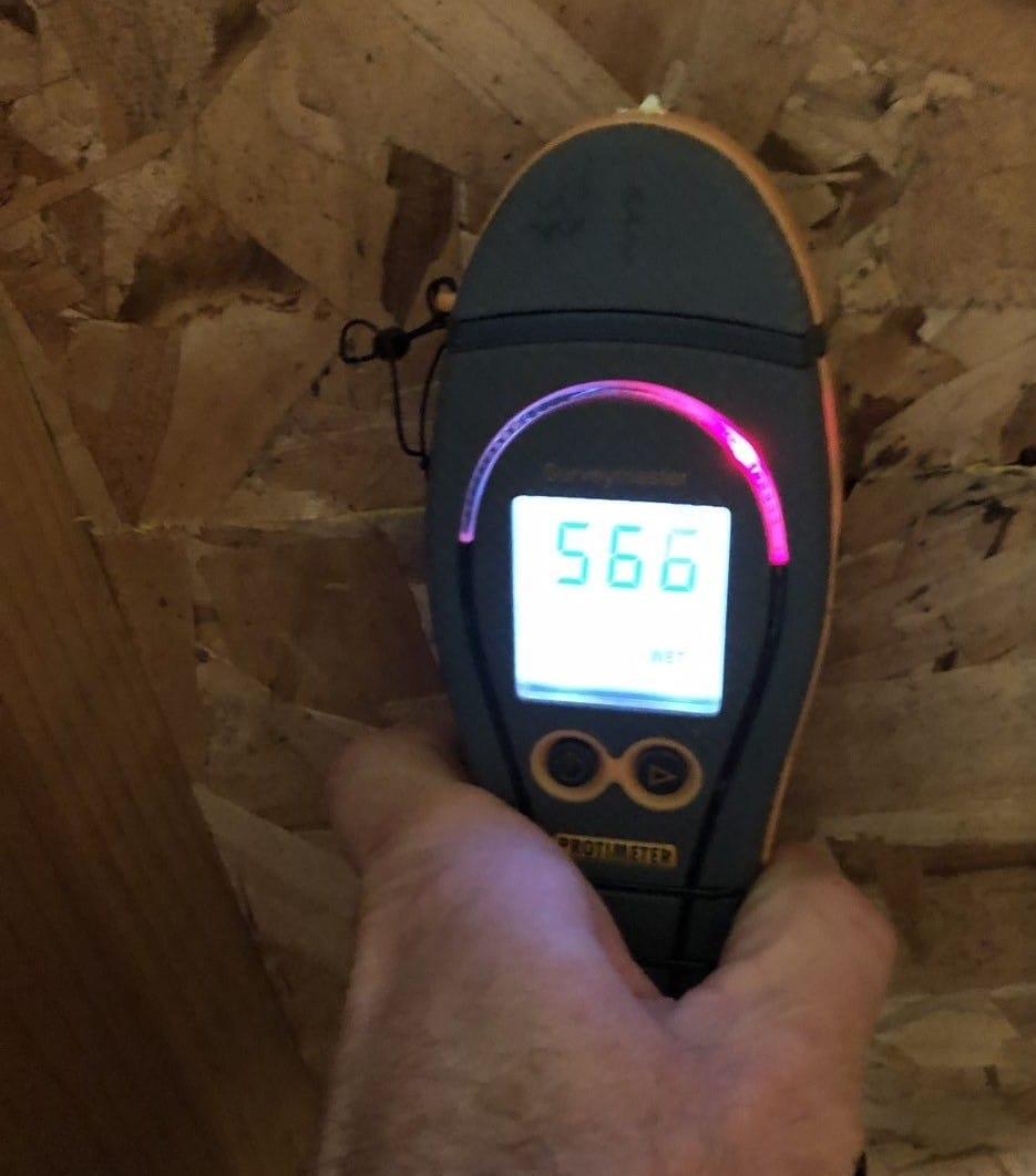 Moisture reading from below on the subfloor